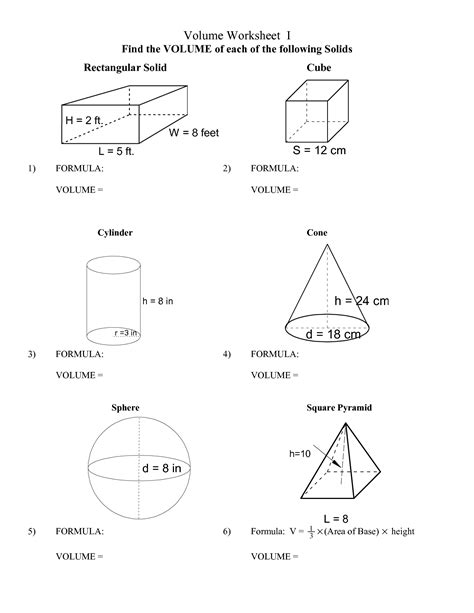 Volume Worksheets With Answers by 17 Best Images Of Volume And Surface Area Worksheets