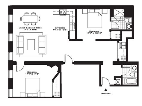 Two Bedroom Floor Plan by Exquisite Luxury 2 Bedroom Apartment Floor Plans On