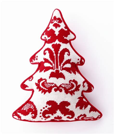 toile tree shaped wool cotton pillow