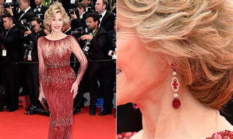 jane fondas black pearl eartings in monster in law cannes 2014 the best red carpet jewelry hello canada