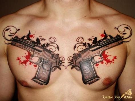 tattoo pictures guns chest tattoos and designs page 714
