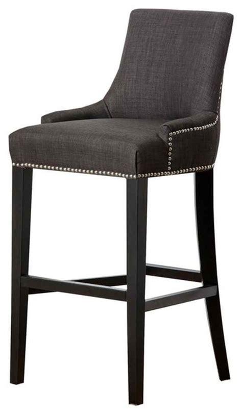grey nailhead counter stool hudson fabric nailhead trim bar stool grey contemporary