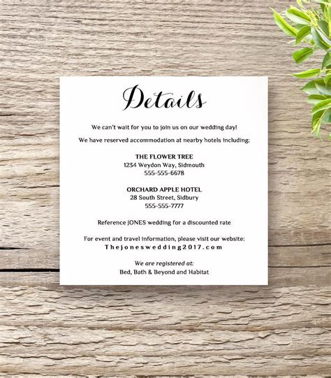detailed wedding reception card template printable wedding invitation rsvp information templates
