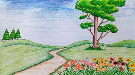 drawing of garden how to draw scenery of flower garden step by step very easy