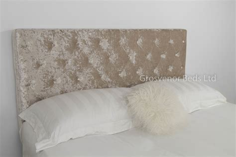 Velvet Buttoned Headboard Upholstered Beige Crushed Velvet Divan Headboard King King Eqb1222b Ebay