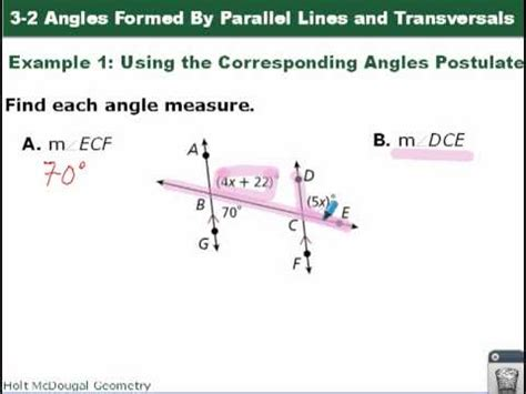 geometry 3 2 angles formed by parallel lines and