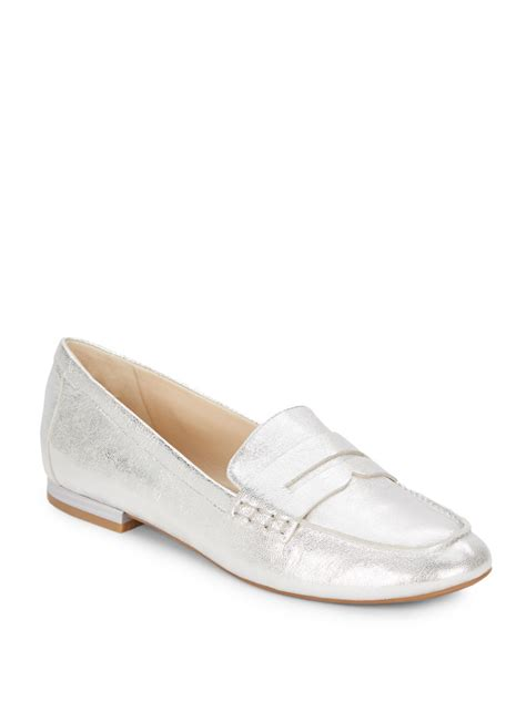 metallic loafers for nine west linear metallic leather loafers in metallic lyst