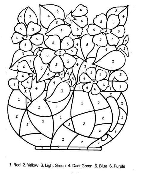vaso di fiori da colorare colora con i numeri il vaso di fiori disegni da colorare