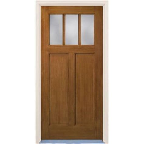 Fiberglass Exterior Doors Home Depot Builder S Choice Craftsman Prefinished Oak Stain