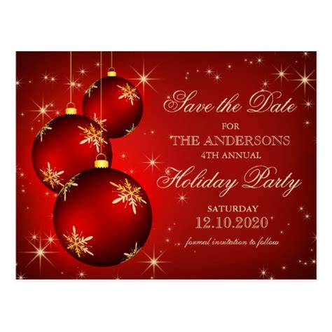 christmas or holiday party save the date postcard