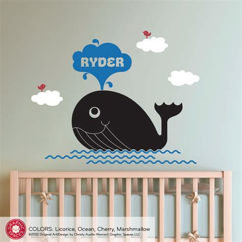 Etsy Nursery Wall Decals Whale Nursery Wall Decal Decor By Graphicspaces