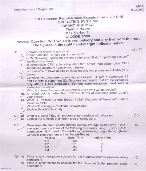 Bput Mba Question Papers 2015 by Bput Mca Operating System Question Paper 2015