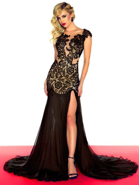 Dress Blackred 16083 inexpensive black sequins evening dress strapless lace tulle prom dress