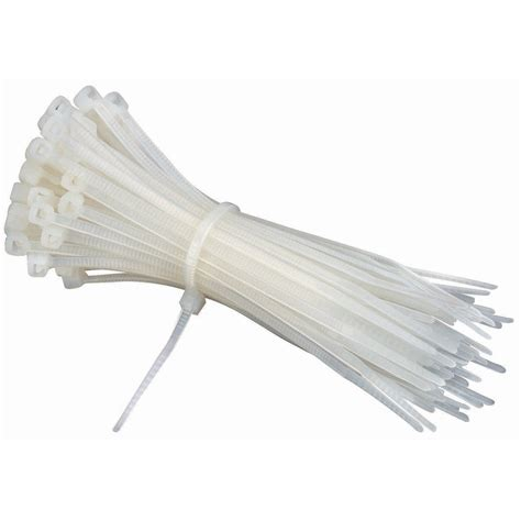 4 in white cable ties 100 pk
