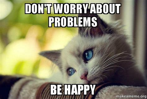 Cat Problems Meme - don t worry about problems be happy first world cat