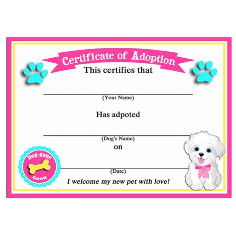 pet adoption certificate template 50 sale puppy adoption certificates instant