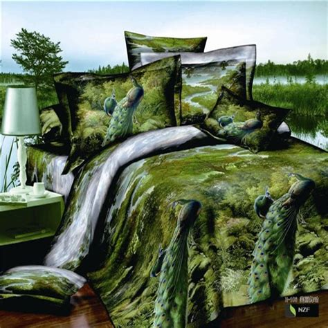 green jungle peacock 3d bird print bedding set queen size
