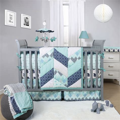 The Peanut Shell Mosaic 3 Piece Crib Bedding Set Features Boy Nursery Bedding Sets