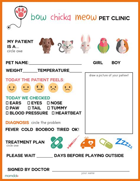 to play at office free printable vet office pretend play sheet