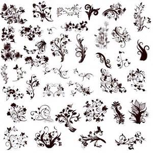 floral design elements in different styles for design
