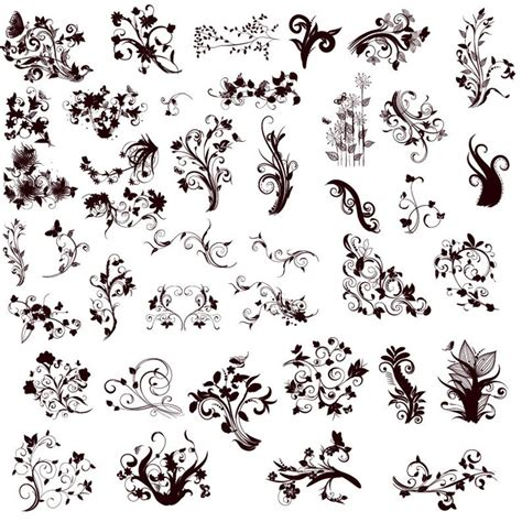 different design styles floral design elements in different styles for design