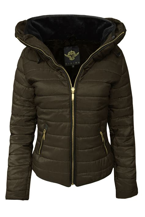 Jaket Parka Canpas Poket Zipper fab style womens puffer bomber jacket quilted padded zip