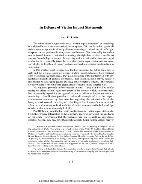 victim personal statement template victim impact statement best template collection