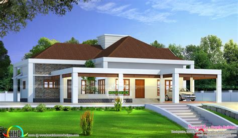 stunning single floor house above road level kerala home