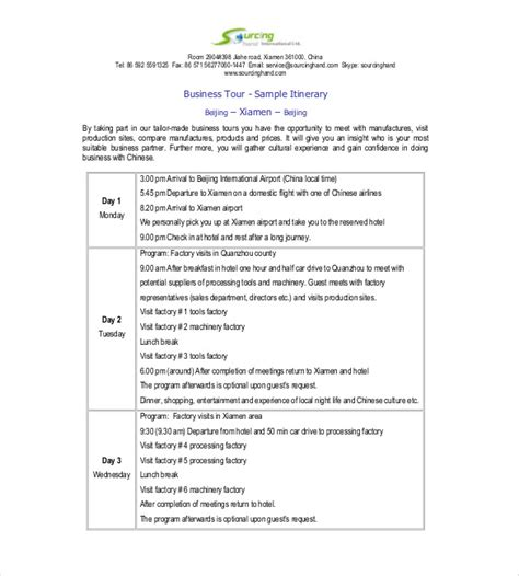 business trip agenda template itinerary template 15 free word excel pdf documents