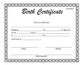 10 free birth certificate templates sleprintable