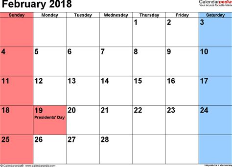 2018 Calendar February February 2018 Calendars For Word Excel Pdf