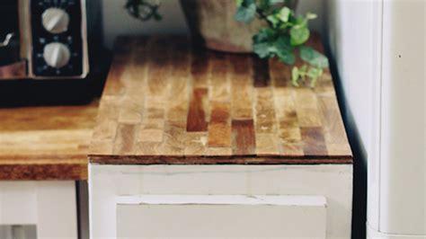 build  cheap diy butcher block countertop  plywood  paint sticks