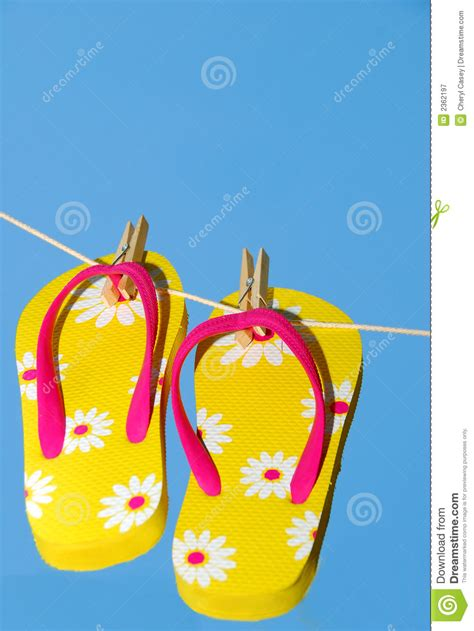 Chesyl Line Casual Sandals flip flops on clothes line stock image image of line