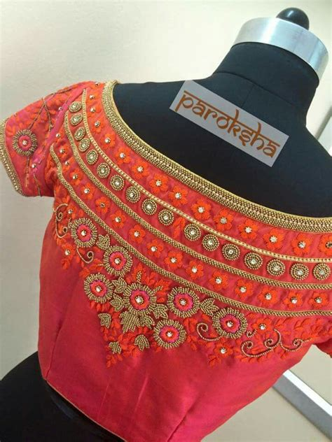 boat neck hand embroidery designs boat neck embroidery blouse back blouses