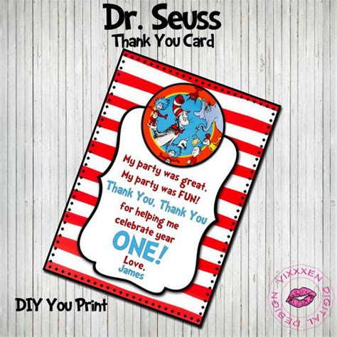 Dr Seuss Birthday Card Dr Seuss 1st Birthday Thank You Card Cat And The Gang