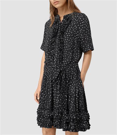 J 39262 Dress Abel allsaints briar flic silk dress in black lyst