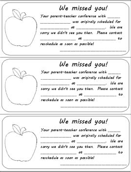 Letter Parent Missed Conference preschool reporting to parents pack by rebekah brock
