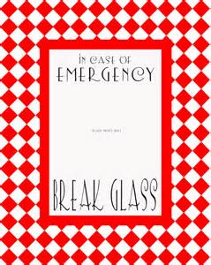 in of emergency glass template items similar to in of emergency glass