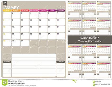 printable calendar english english calendar 2017 stock illustration image 69987941