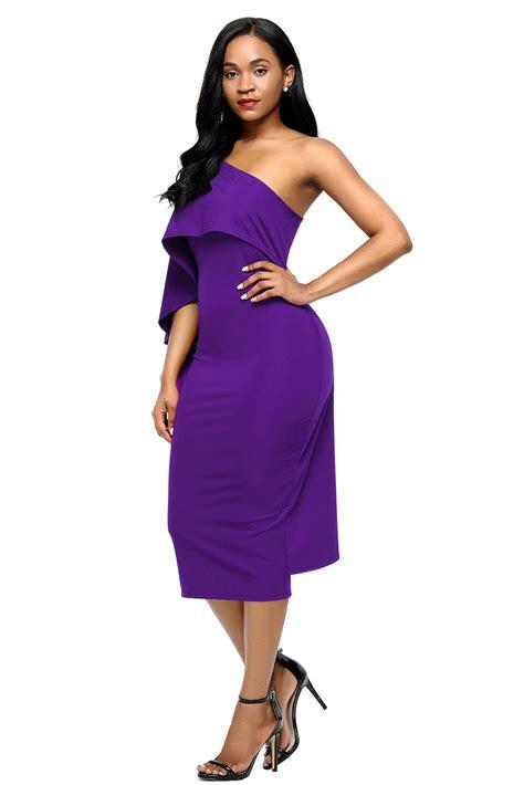 Batwing Purple Dress trendy purple batwing sleeve one shoulder sheath dress