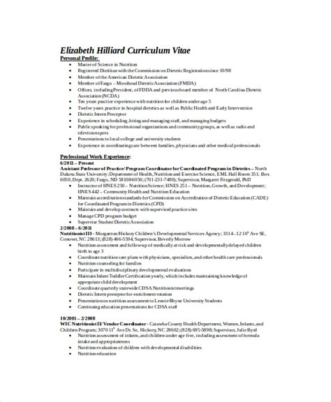 Professional Registered Resume by Dietitian Resume Template 6 Free Word Pdf Documents