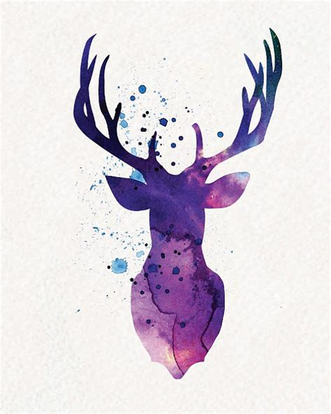 cing tattoo designs purple deer watercolor painting wall