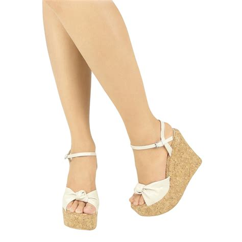 Wedges White Bow platform cork wedge bow wedge sandals