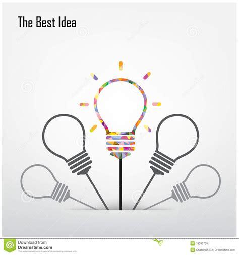 design idea creative light bulb and the best idea concept stock vector