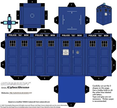 Doctor Who Template cubee tardis by cyberdrone on deviantart