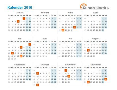 Wochen Kalender 2016 Kalender 2016 Mit Feiertagen