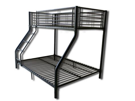 Metal Bunk Bed Frame With Futon Children Metal Sleeper Bunk Bed Frame In Black No Mattress New Ebay