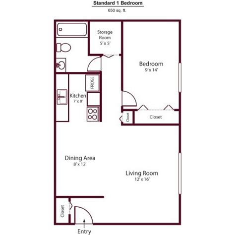 650 Square Feet Floor Plan Granite Property Management Co