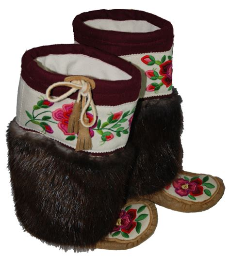 Handmade Mukluks - collectible cdn handmade moosehide beaver fur
