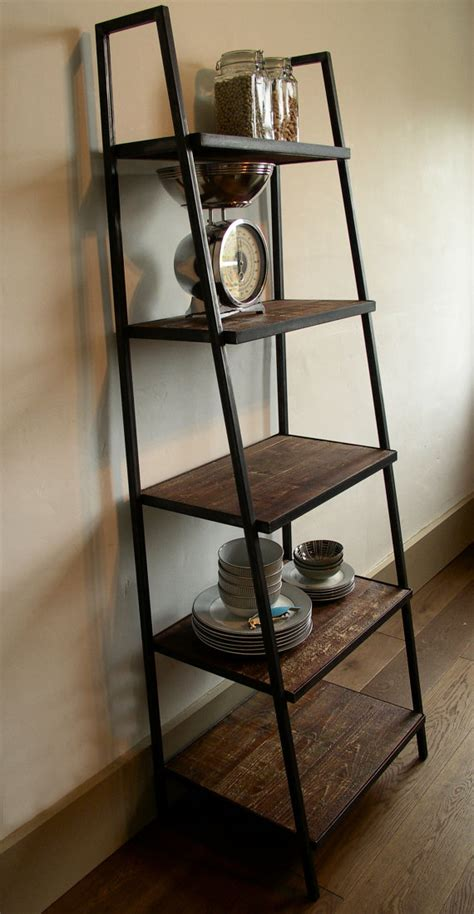 industrial style ladder shelving unit distressed